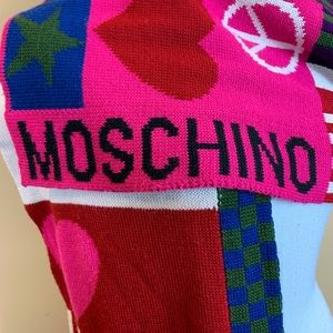 Moschino Peace & Love wool blend knit scarf